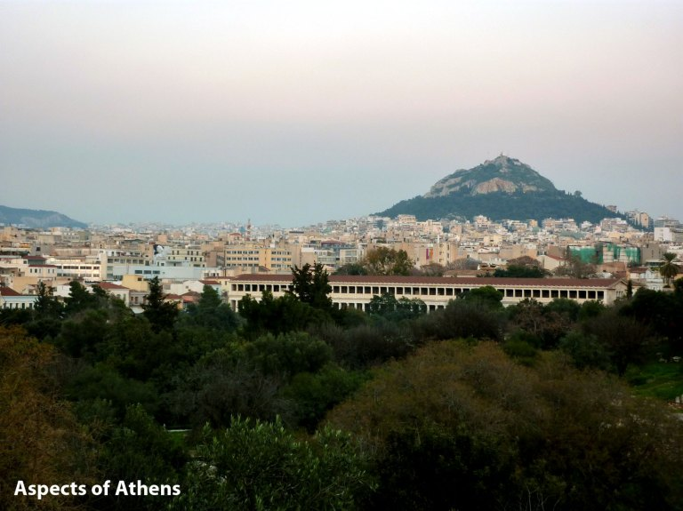 view of Attalos Arcade and Lycabettus Hill