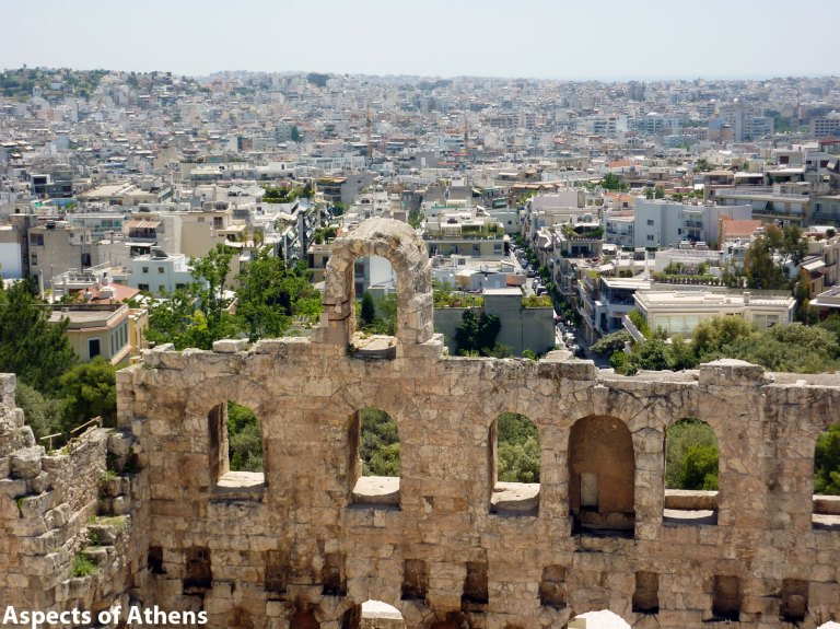 view from the Acropolis and Herod Atticus Odeon