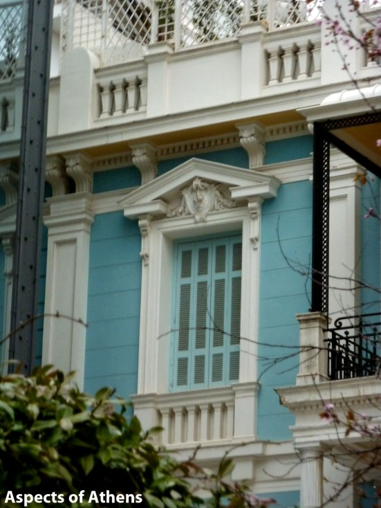 light blue neoclassical building Kolonaki